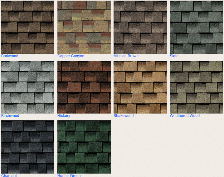 Timberline hd roofing shingles color chart chase construction