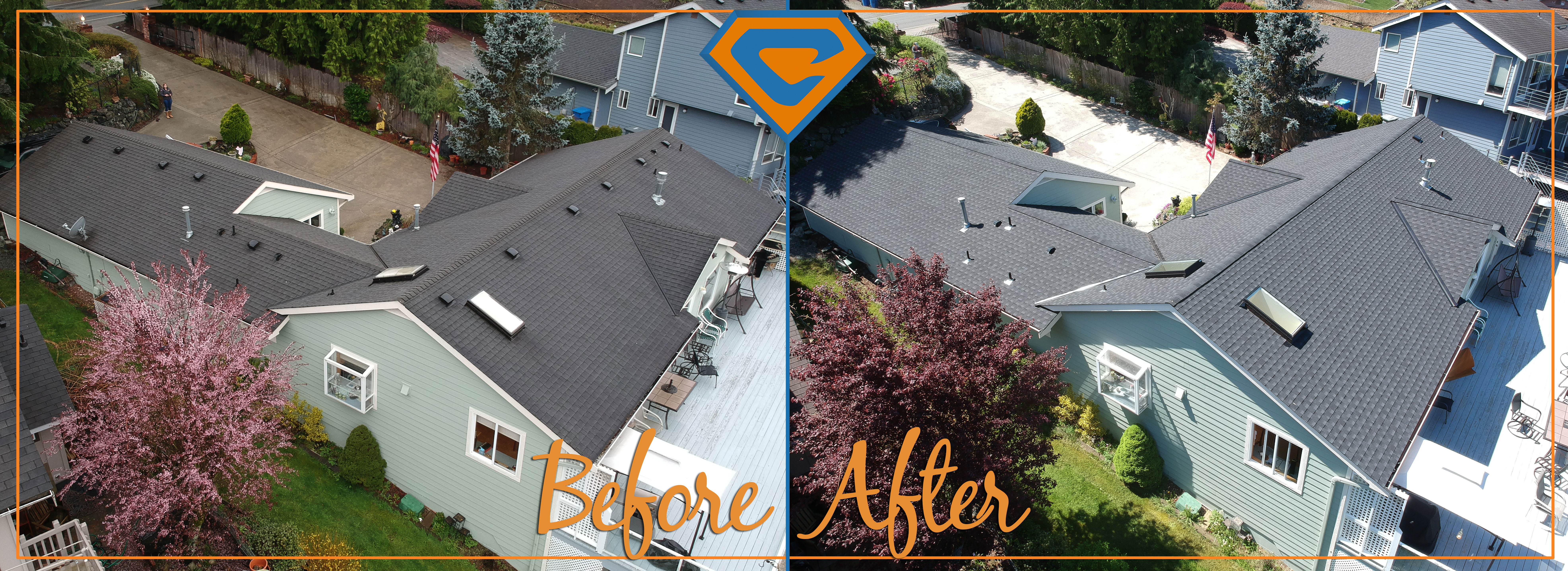 Bonney Lake Reroof before and after